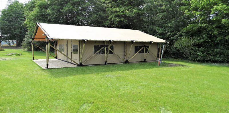 safaritent XL compleet opgebouwd op camping in Duitsland